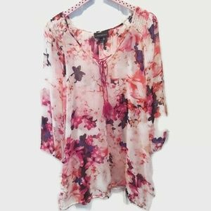 Lane Bryant Sheer Floral Top Blouse Size 26/28